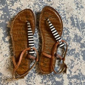 Sam Edelman Navy and White Striped Sandals